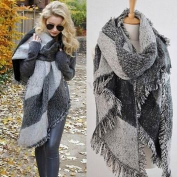Fashion Pashmina Women Scarf Warm Winter Plaid Scarf  Shawl Reversible Cape Shawl Wraps Blanket Warm Poncho KH950750