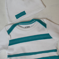 Gender neutral baby coming home set. Gown and hat.  White with teal stripes.   (Made by lippybrand)