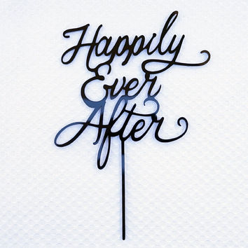 Happily Ever After Wedding Cake Topper Black Acrylic Bride and Groom Cake Topper Monogram Calligraphy