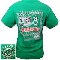 SALE Southern Chics Funny Nurses Heartbeat Healthcare Green Bright T Shirt