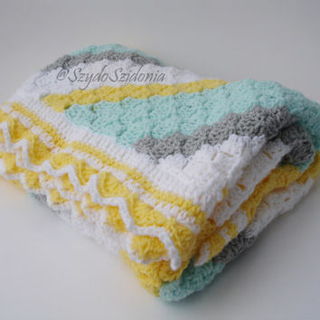 Crochet baby blanket - Babyshower gift - Unisex baby blanket - Baby afghan,receiving blanket - Baptism blanket - Ready to ship