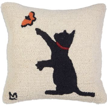 "Black Cat With Butterfly Hooked Wool Pillow 18"" L × 18""W"