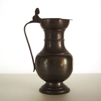 Vintage pewter pitcher with lid - Pewter flagon - Pewter jug - Made in Italy
