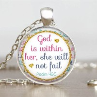 Bible Proverbs 46:5 Glass Tile Pendant Christian Necklace
