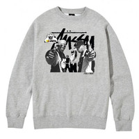 Stussy: Public Enemy Crewneck Sweater - Heather Grey