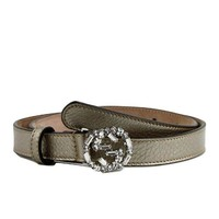 DCCKUG3 Gucci Women's Interlocking Crystal G Leather Skinny Belt 354380