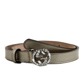 ONETOW Gucci Women's Interlocking Crystal G Leather Skinny Belt 354380
