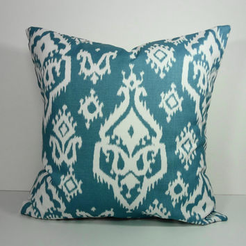 IKAT Decorative Pillow Cover, Steel Blue and White, 18 x 18, Cushion Cover