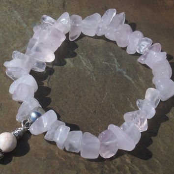 Chunky Rose Quartz Stretch Bracelet with Pink Magnesite and Heart Charm for Love and Emotional Healing