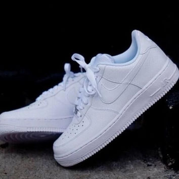 NIKE Women Men Running Sport Casual Shoes Sneakers Air force White 1d3ce9d195