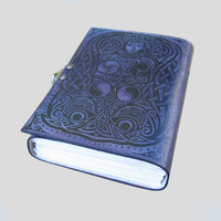 5 x 7 Violet Purple Leather Journal Diary Sacred Symbols Design 272 Blank Pages Handmade Sketchbook with Brass Latch