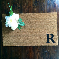 """Welcome Mat / Doormat Personalized with Single Capital initial - 18x30"""" made from natural coir"""