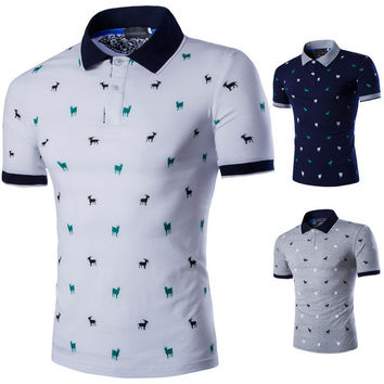 Mens Animal Patterned Polo