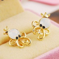 Fashion cute opal octopus earring   from looback