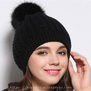 LMF9GW new women Plush hat  winter cold warm wool hat knitted cotton cap winds Huerao Mao fur ball autumn and winter cute yellow  black