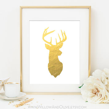 DEER HEAD - RIGHT FACE Faux Gold Foil Art Print