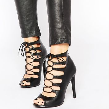 Daisy Street Black Ghillie Heeled Sandals