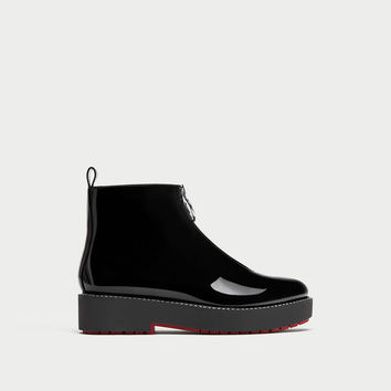 FLAT FAUX PATENT ANKLE BOOTS WITH TAB DETAILS