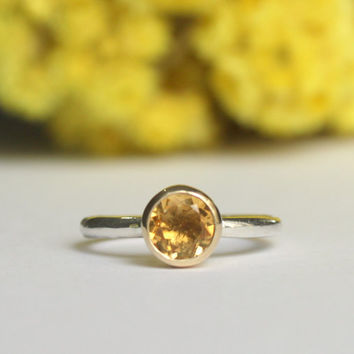 14k Yellow Gold CitrineTube Set  Solitaire Ring by meltemsem