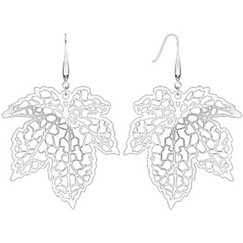 Spikes Womens 316L Surgical Stainless Steel Laser Cut Maple Leaf Dangle Earring