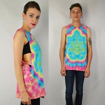 Tie Dye Shirt Pot Leaf Tank Hippie Rasta Soft Grunge Large Mens Womens Unisex Clothing Handmade Cutoff Sleeveless 420 Hella Dope Stoner Bro