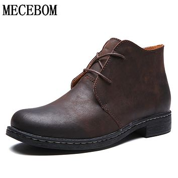 Men's tooling boots leisure quality genuine leather ankle boot lace up winter plush casual shoes brown size 38-43 810m