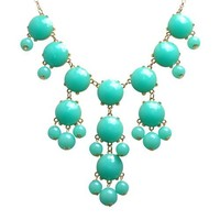 Jane Stone Bubble Lake Blue Gold Tone Necklace Turquoise Green Statement Jewelry