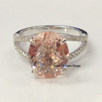10x12mm Pink Morganite with Diamond 14K White Gold Engagement Ring,Split Shank
