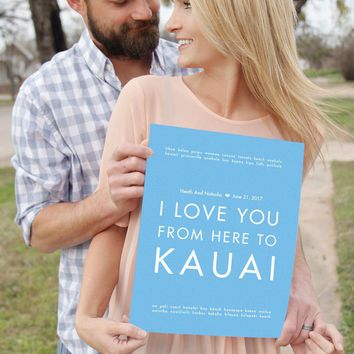 Kauai Hawaii Custom Wedding Poster | Gift Idea | HopSkipJumpPaper