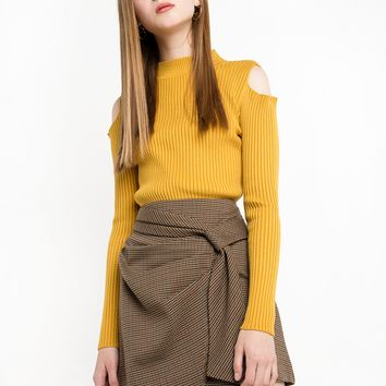 Mustard Yellow Cold Shoulder Ribbed Top