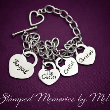 Fangirl - Hand Stamped Stainles Steel Charm Bracelet - Hand Stamped Fandom Gift for Her - Sherlock Dr Who Supernatural - Castiel, The Doctor