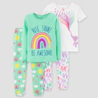 Baby Girls' 4pc Rainbow Elephants Pajama Set Just One You™ Made by Carter's® Teal