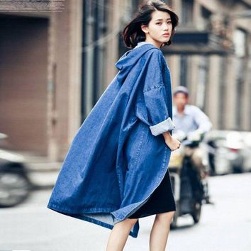 autumn fashion street women's denim casual trench coat hooded Open stitch long raincoat losse clothing good quality