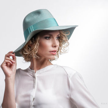 Trendy Sea Green Floppy Fedora Hat - Wool Felt Hat - Unisex Accessory - Matching Colour Trim - Casual Hats - Women's Accessories
