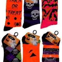 6 Pairs Halloween Crew No Show Socks Womens 4-10 Black Orange Bats Spiders Skull