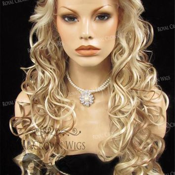 """26"""" Heat Safe Synthetic Lace Front in Curly Texture """"Calypso"""" in Beach Blonde Mix"""