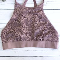 High Neck Floral Lace Bralette - Taupe