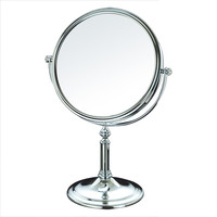 "Adeco [MR0098] Round 8"" Double Sided Makeup Cosmetic Mirror 3X Magnification Swivel Head Decorative Stand Chrome Finish"