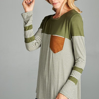 Olive Striped Top with Suede Pocket
