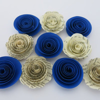 "Royal Blue and aged Book page paper flowers, 10 piece set, 1.5"" roses, dark blue wedding theme, baby shower decor, bridal shower decorations"