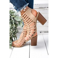 Macy Strappy Booties (Natural)