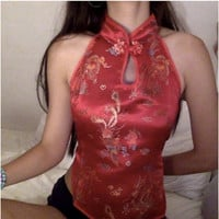 oriental chinese halter backless strappy crop top satin floral bra bralette festival lingerie pants skirt bandage collar silk mesh net