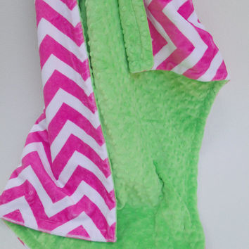 ON SALE Apple Green and Pink Chevron Minky Baby Blanket for Baby Girl