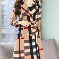 Burberry New fashion plaid long sleeve coat women Khaki