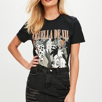 Missguided - Black Cruella De Vil Graphic T-Shirt