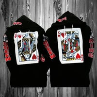 "2 matching ""king of heart"" and ""queen of heart"" black hoodies"