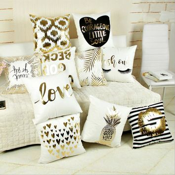 45cm*45cm Supersoft Velvet Bronzing Pillow Cover Cushion Cover Home Decor gold stamp Pillow cover decorative