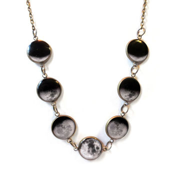 Phases of the Moon Necklace - Planetary Outer Space Science Jewelry - Multi Charm Crescent to Full Moon Jewelry