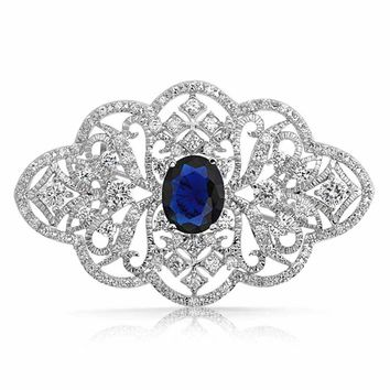 Filigree Blue CZ Oval Brooch Pin Simulated Sapphire Silver Plated