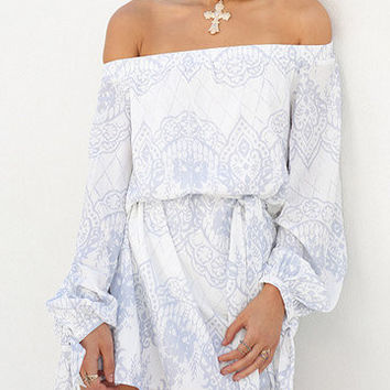 White Off Shoulder Lantern Sleeve With Tie Dress